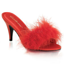 PLEASER FABULICIOUS Amour-03 Red Satin Marabou Feather Drag Queen Ladies Shoes