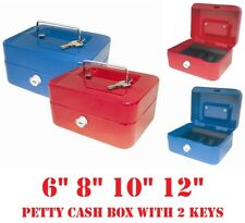 Petty CASH MONEY BOX Safe Deposit Steel Tin Security Organiser Bank Tray 2 Keys