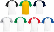 Fruit Of The Loom T-Shirt Mens Adults Baseball Tshirt Tee Top Sizes Small To 3XL