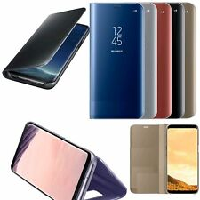 Samsung Galaxy S8 S8+ Note 8 Clear View Mirror Leather Flip Stand Case Cover
