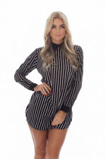 Black and White Striped Blouse/Shirt with Collar and Long Sleeves - Sizes 8 - 16