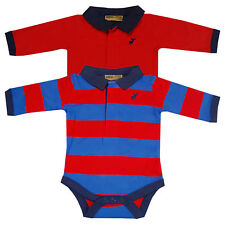Baby Boys Red Navy Striped Collared 2 Pack Bodysuit Vests Long Sleeve Tops