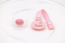 PERSONALISED DUMMY AVENT *FLOWER* DUMMY AND DUMMY CLIP *CAN BE STERILISED*