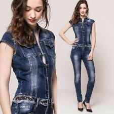 Sexy Womens stretch Denim Jumpsuit Overalls skinny Jeans Dark Blue UK 6-14