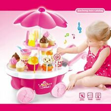 Girl Candy Cart Ice Cream Shop Supermarket Trolley Kids Toys With Light Music LC