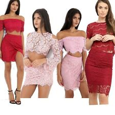 New Womens Ladies Lace Top And Skirt 2 Piece Co-Ord Set Bodycon Party Outfit