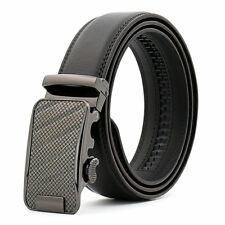Mens  Fashion  Automatic Leather Ratchet Casual  Gunmetal Colour Buckle Belt