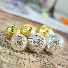 DIY 100 Pcs Gold Hollow Beads Jewelry Accessories Metal Silver Plated Manual