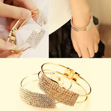 1Pcs Elegant Cuff Gold Silver Plated Jewelry Bracelet Women Crystal Bangle Gift
