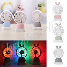 Portable Handheld Cooling Fan Colorful LED Light Rabbit Shaped USB Rechargeable