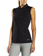 Nike GOLF Victory Solid Golf Polo Sleeveless Tennis Shirt Women's Size M/S Black