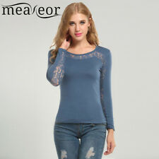 Meaneor New Women Tshirt Casual Long Sleeve O-Neck Lace Patchwork Hollow Out Top
