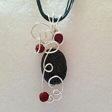Lava Diffuser Aromatherapy Essential Oil Scent Silver Wire Wrapped Handcrafted
