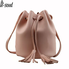 Bag Women Small New Bucket Leather Shoulder Bag Candy Color Mini Handbags Tassel