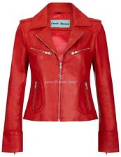Women Leather Fashion Jacket Red WASHED Biker Motorcycle Style 100%Leather 9823