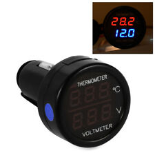 2 In 1 Car Auto 12V Dual Display Red LED Digital Thermometer Voltmeter