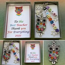 PERSONALISED BEADS TEACHER Owl Star Thank You Keepsake Charm End Of Term Gift