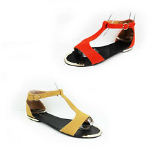 WOMENS CASUAL SUMMER BEACH T-BAR ANKLE STRAP FLAT SANDALS LADIES SHOES SIZE 3-8