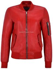 Ladies Leather Jacket Red 100% REAL LEATHER Jacket Retro Bomber Style 2348
