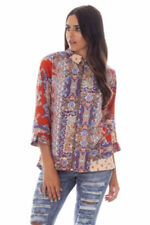 Paisley Print Zip Front Shirt/Blouse with Dip Hem - FREE FIRST CLASS POSTAGE