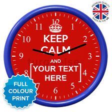 personalizzato KEEP CALM AND CARRY ON BLU TONDO Foto Orologio da parete 19cm