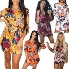 Womens Ladies Floral Satin Tied Front Shirt Dress Collared Fashion Button up Top
