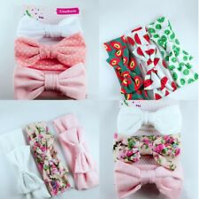 3Pcs Newborn Headband Cotton Elastic Baby Print Floral Hair Band Bow-knot new