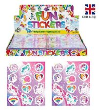 UNICORN STICKER SHEETS Kids Girls Birthday Party Bag Filler Favors Pony Toy Gift