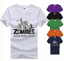 Zombies Hate Fast Food Print Top Mens Boys Short Sleeve Casual TShirt Cotton Tee