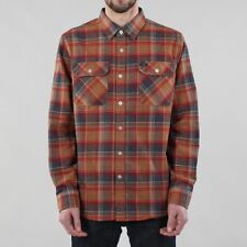 Brixton Men's Bowery Long Sleeve Flannel Shirt Navy Blue Copper Orange