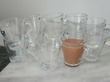 Set Of 6 Glass Espresso Cups And Saucers Small 225ml Coffee Expresso Shot Mugs