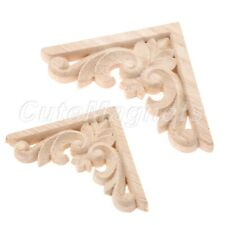 Unpainted Wood Carved Corner Onlay Applique Decal Decor For Furniture Cabinet