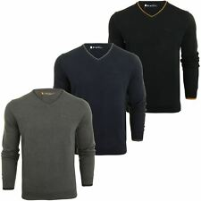 Mens V Neck Twin Tipped Cotton Knit Jumper by Ben Sherman