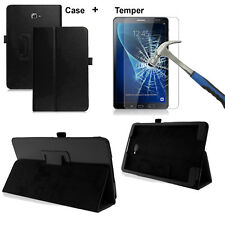 Tempered Glass + Leather Stand Case Cover For Tab Samsung A6 10.1 Inch T580/T585