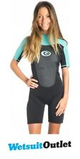 2017 Rip Curl Omega Ladies 2mm Back Zip Spring Shorty BLACK / Turquoise WSP4CW