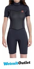 2017 Billabong Ladies Synergy 2mm Back Zip Shorty Wetsuit BLACK SANDS C42G02