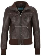 Ladies Bomber Leather Jacket Brown Motorcycle Style REAL LEATHER JACKET 3758