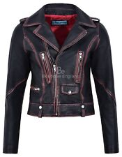 Women's New Fashion Jacket Leather Jacket Black Rub Off Wax Biker Style 4569