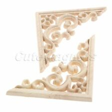 Wood Carved Decal Corner Onlay Applique Frame Unpainted Furniture Decor 1pc/4pcs