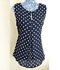 Crepe Polka Dots Navy Blue Pleat Button Tunic Top Swing Blouse Sleeveless 12-20