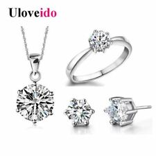 Bridal Wedding Jewelry Sets Silver Color Jewelry Earrings Ring Necklaces Crystal