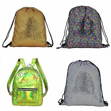 BackPack Knapsack Metallic Sequin Holographic Sports Gym Holiday Festival Travel