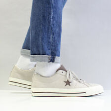 Converse Men's One Star Ox Suede Shoes Papyrus Off White Dark Chocolate Brown