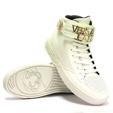 BRAND NEW VERSACE JEANS LACE UP  HIGH TOP BUCKLE MEN'S SNEAKERS SHOES - WHITE