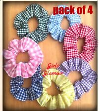Pack 4 School Scrunchies Gingham Check Fabric Bow Hair Tie Elastic Band Ponytail