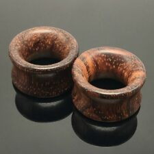 paio 8 mm - 20mm legno ORECCHIO TUNNEL BORDEAUX NATURALE SPINA organica piercing