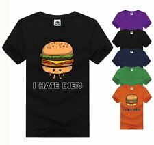 I Hate Diets Printed Top Mens Boys Short Sleeve Casual TShirt Cotton Tee Summer