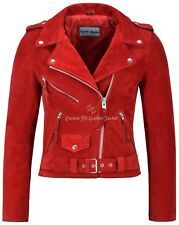 Ladies Brando Leather Jacket Red Suede Fitted Biker Motorcycle Style MBF