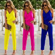 Sexy Women Off Shoulder Jumpsuit Rompers Spaghetti Strap Wide Legs Bodycon Jumps