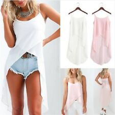 White Pink Summer Autumn Camis Dress Women Solid Irregular O-Neck Casual Vestido